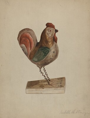 Pa. German Toy Rooster with Bellows