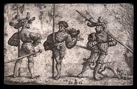 Three German Soldiers Armed with Halberds