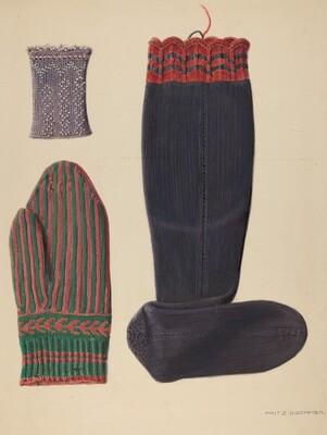 Zoar Beaded Wristlet, Mitten and Sock