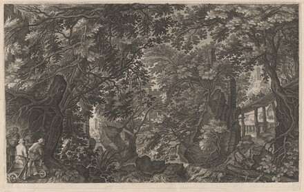 Hunters in a Forest near a Wooden Bridge