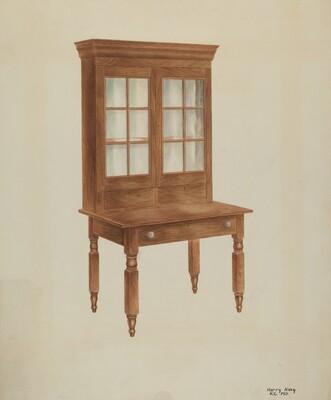 Walnut Desk and Bookcase