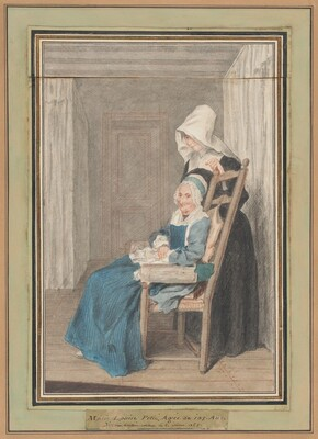 Marie Louise Petit at the Age of 105, with Her Young Nurse