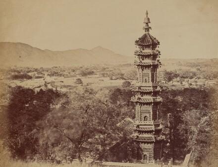 View of the Summer Palace Yuen Min Yuen, Pekin, Showing the Pagoda Before the Burning, October 1860