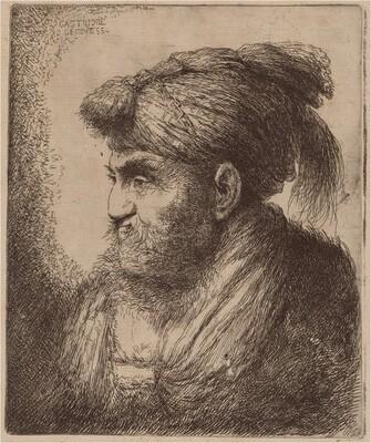 Man with a Beard and a Tassled Headdress, Facing Left