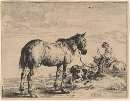 A Horse Bound to a Post with a Reclining Dog
