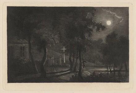 A Lakeside Chapel by Moonlight