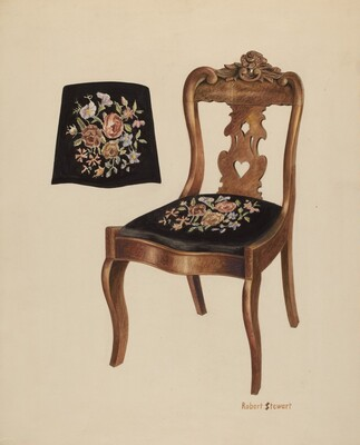 Walnut Carved Back Chair