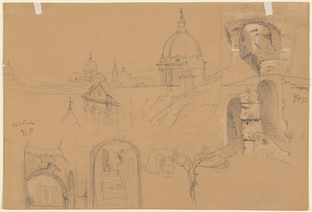 Studies of the Colosseum and Monte Pincio (verso)