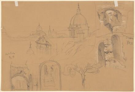 Studies of the Colosseum and Monte Pincio (verso)