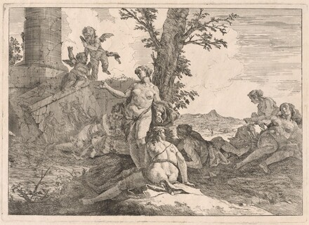 Six Nymphs and Two Cupids in a Landscape