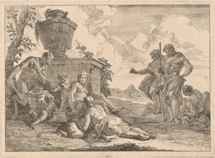 A Satyr with a Staff and Seven Other Figures