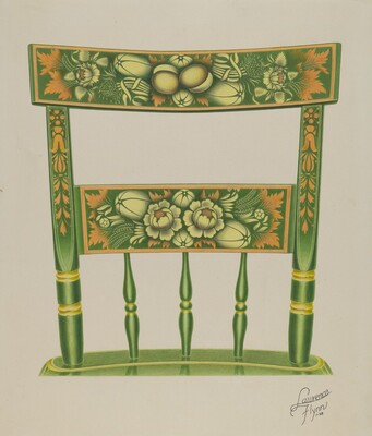 Back of Stencilled Chair