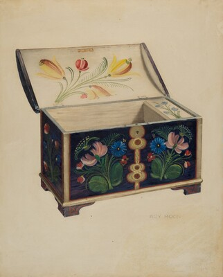 Painted Wooden Chest or Casket