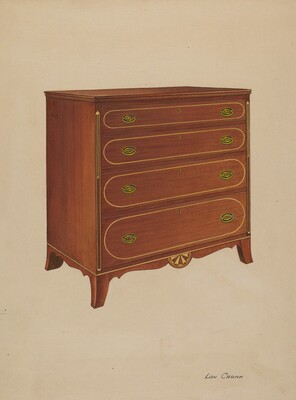 Butternut Wood Chest of Drawers