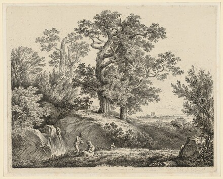 Landscape with a Waterfall and a Resting Family