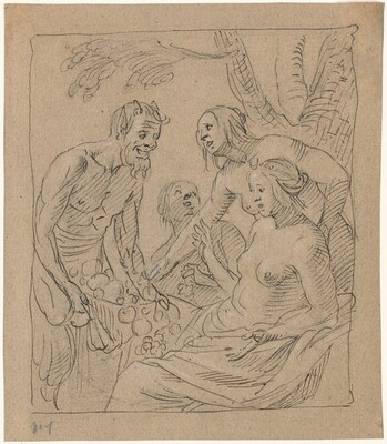 Diana and Two Nymphs Receiving Gifts from a Satyr (recto)