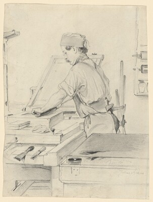 Self-Portrait Working at a Lithographic Press