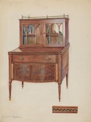 Mahogany Desk with Bookcase Top