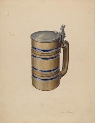 Stoneware and Pewter Beer Mug