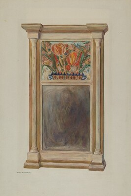 Looking Glass with Decorated Glass Panel