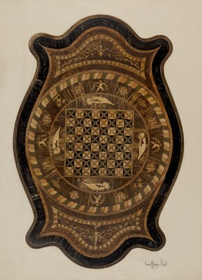 Marquetry Table: Showing Inlay Top