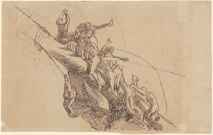 Figures Clinging to Wreckage (study for Seige and Relief of Gibraltar)