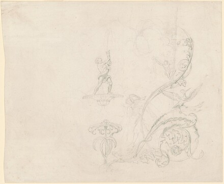 Three Studies: Foliate and Animal Decoration, Standing Man and Woman, and a Fountain