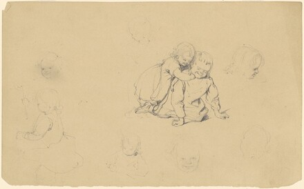 Assorted Sketches of Children Playing and Children's Heads