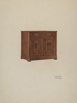 Wash Cabinet, with Marble Top and Semi-back