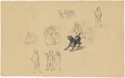 Six Sketches of Genre Scenes Including a Barking Dog