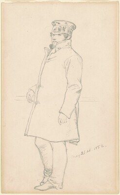 Standing Man in Cap and Coat