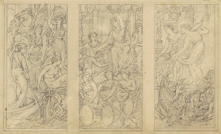 Triptych of Classical Figures, (study for Commerce)