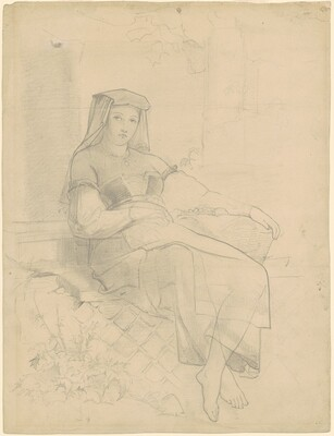 Girl in European Costume Sitting on Stone Bench