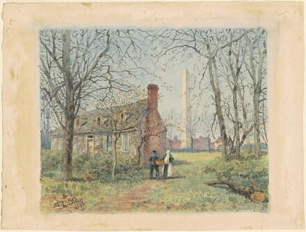 David Burns' Cottage and the Washington Monument, Washington, D.C.