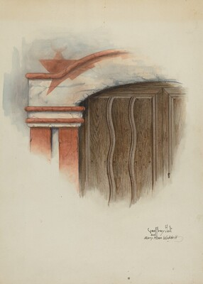Restoration Drawing: Detail of Arch, Main Doorway, and Door, Mission-House