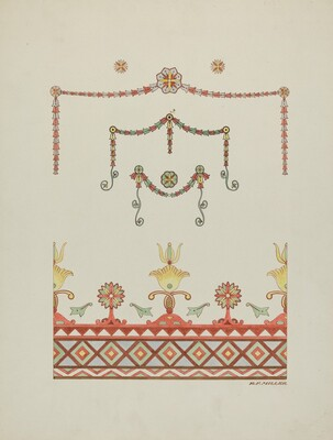 Wall Decorations (Drawing Made from a Restoration)