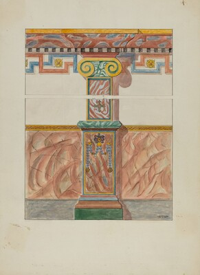Painted Wall Decoration, Detail of Pilaster