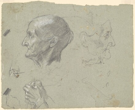Assorted Studies Including Head of an old Woman and Knitting Hands