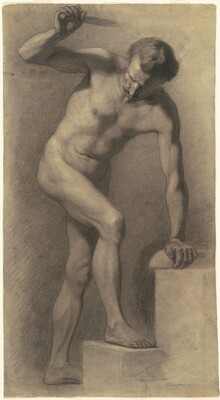 Male Nude, Arm Lifted, Foot on Stair