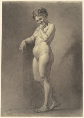 Standing Female Nude with Tousled Hair