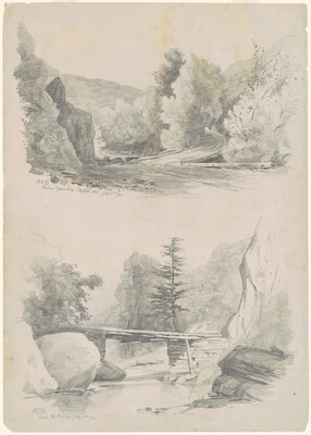 Two Sketches: Below Fawn's Leap, Catskill Mountains [New York] and Above the Bridge