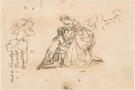 Three Studies Including a Man and Woman in Eighteenth-Century Costume