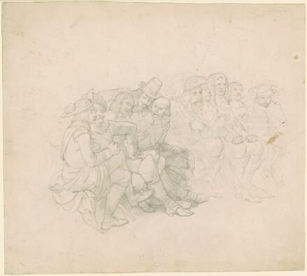 Ten Seated Men in Seventeenth-Century Costume [recto]