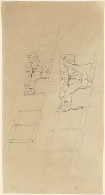 Two Studies of a Boy on a Ladder