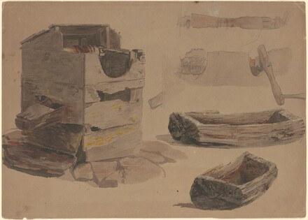 Studies of a Well, Crank Handle, and Wooden Trough