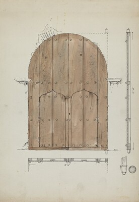 Restoration Drawing of Original Needle's EyeDoors, Formerly Main Entrance Doors of