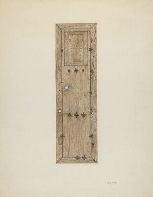 Copper-studded Door (One of a Pair)