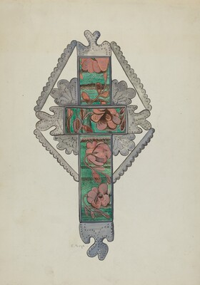 Tin and Painted Glass Cross, Church or Home Use