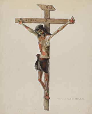 Painted Wooden Crucifix