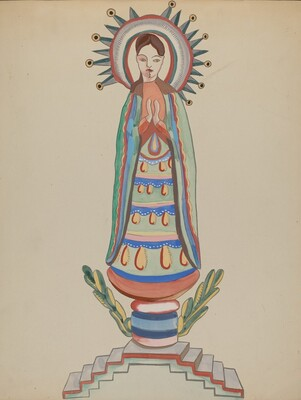 New Mexico, Bulto, Polychromed Wooden Figure